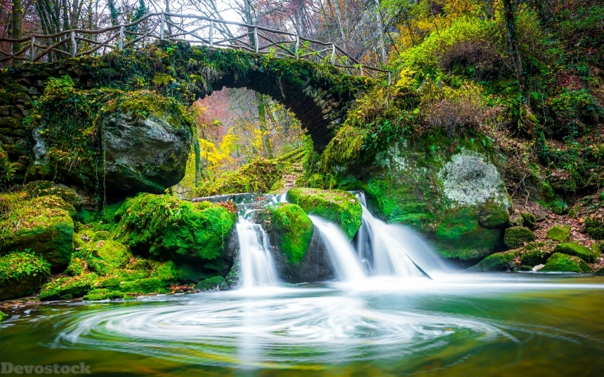 Devostock Luxembourg Rivers Waterfalls Bridges Stones Autumn Mullerthal Region Moss Nature 4k