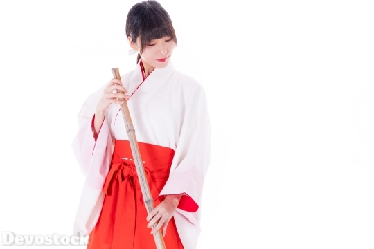Devostock Maiden Girl White Background Traditional Dress Cleaning 4k