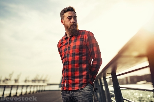 Devostock Man Beard Red Plaid 4K
