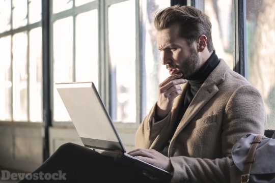 Devostock Man Laptop Beard Office 4k