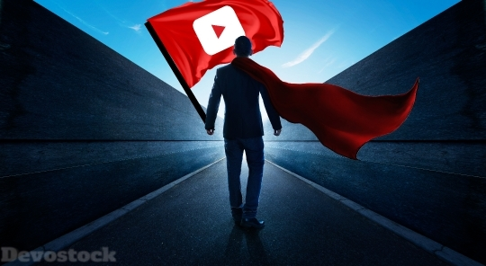 Devostock Man With Youtube Flag Ju 4K