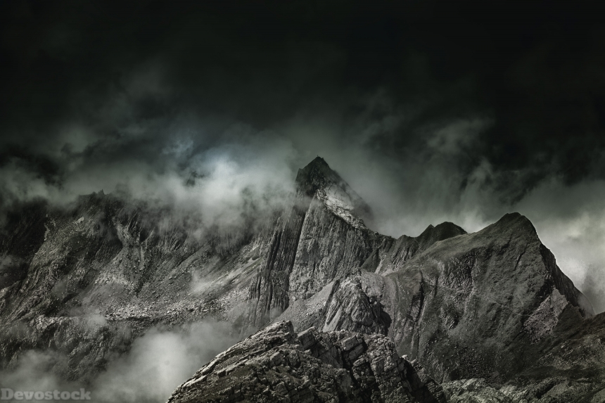 Devostock Nature Moutain Dark Shadow Cloudy Stone 4k