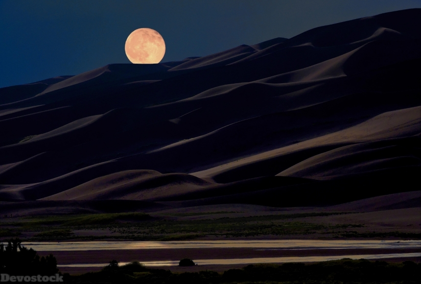 Devostock Nature Night Moon Desert Dark Sand 4k