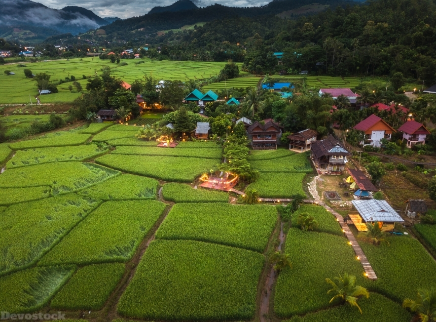 Devostock Nature Thailand Houses Fields Mae La Noi Village 4k