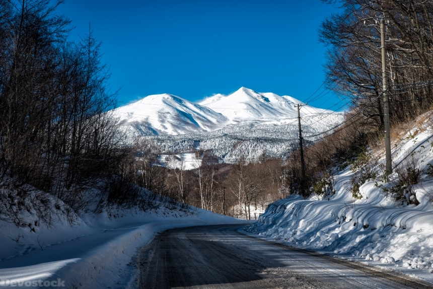 Devostock Nature Weather Cold Sky Winter Moutain Road 4k