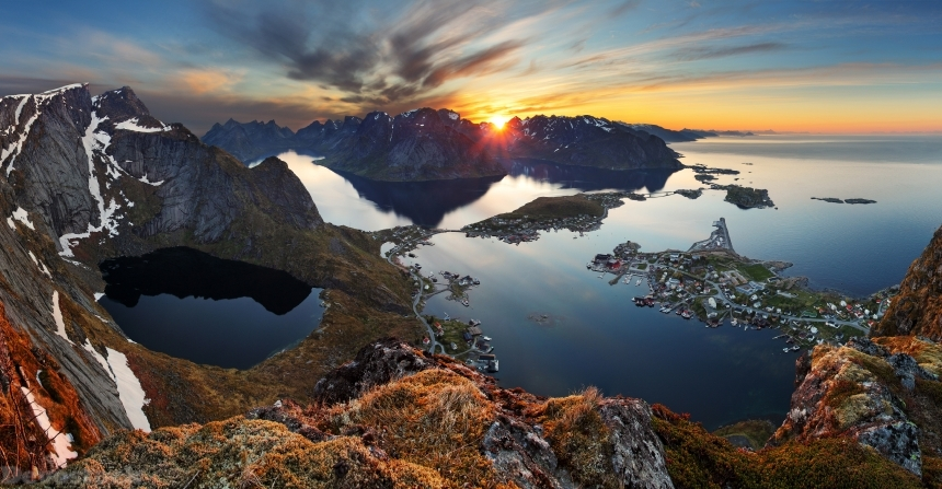 Devostock Norway Lofoten Sunrises Sunsets Bay Crag Moss 4k