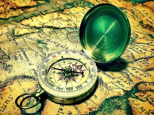 Devostock Old Map Compass Life History 4k