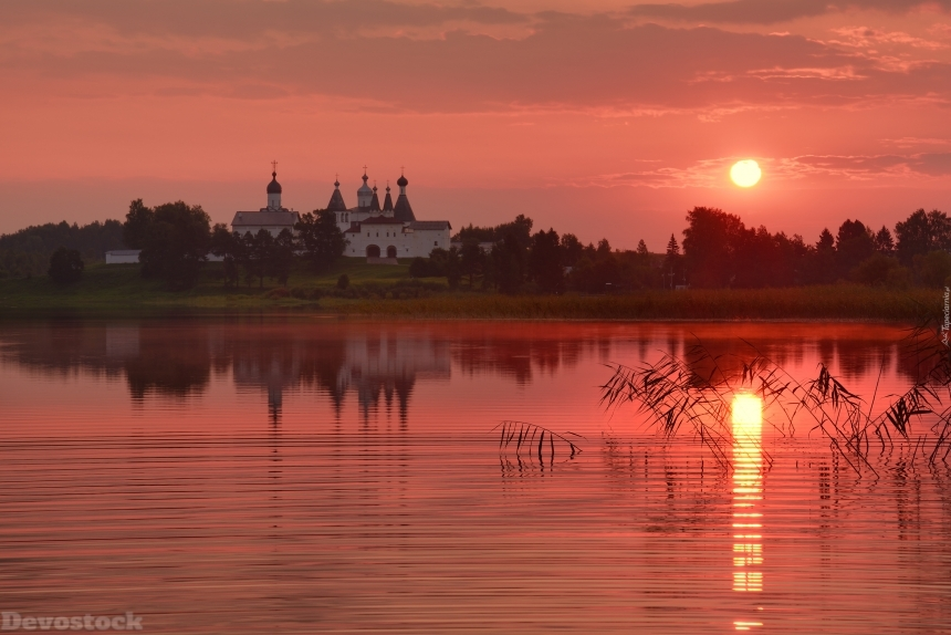 Devostock Orthodox Church By The Lake At Sunset 4K