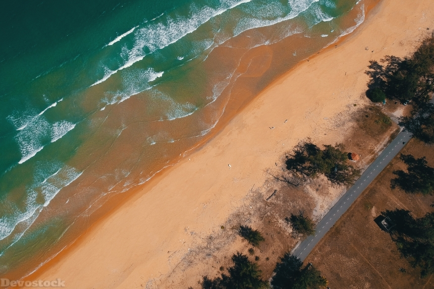Devostock Outdoor Nature Aerial Shot Beach Bird S Eye View 4k