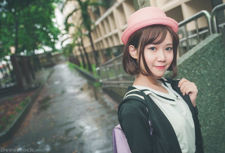Devostock Outdoor Street Taiwanese Beautiful School Girl Pink Hat 4k