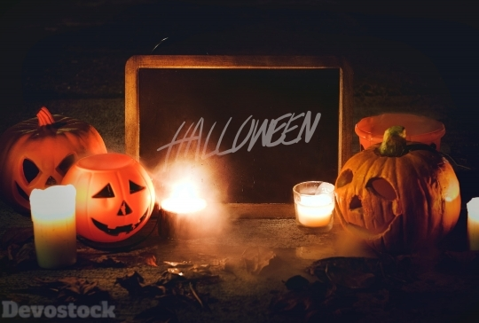 Devostock Photography Lights Halloween Pumpkin 4k