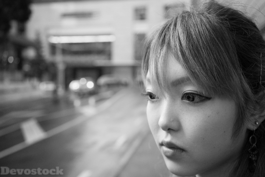 Devostock Portrait Girl Face Bokeh 4K