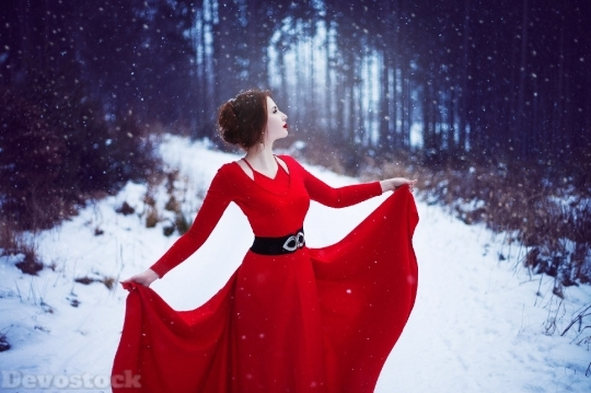 Devostock Red Dress Woman In Snow Hd 4K