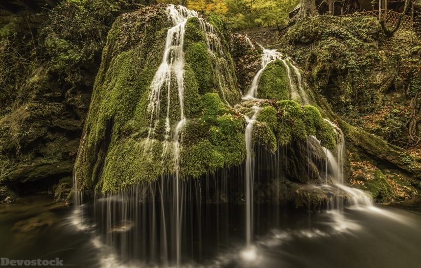 Devostock Romania Waterfalls Bigar Waterfall Crag Moss 4K