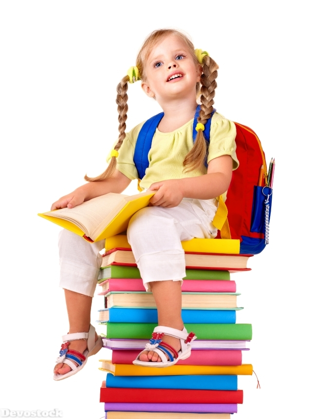 Devostock School White Background Little Girls Book Sitting 4K