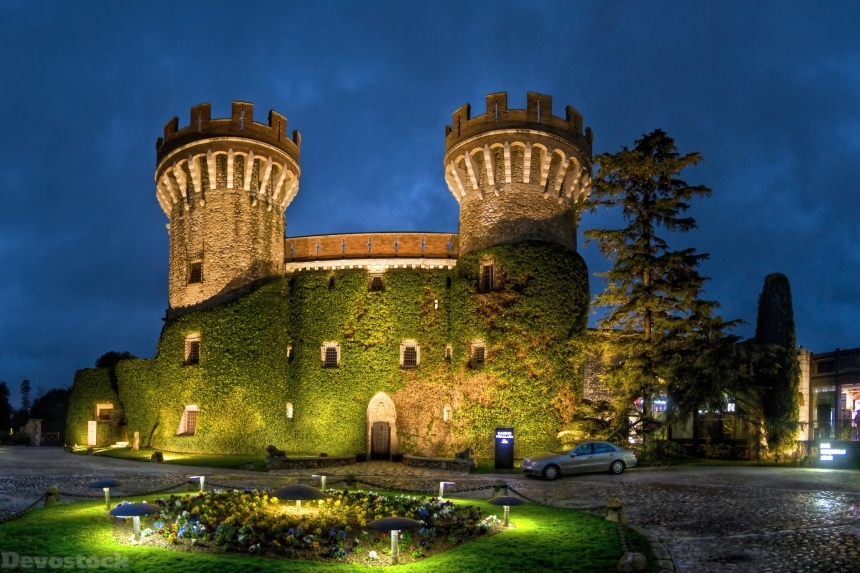 Devostock Spain Castles Evening Castell Peralada Moss Street lights 4k