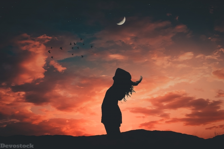 Devostock Sunset Wallpaper Afterglow Backlit Girl Shadow 4k