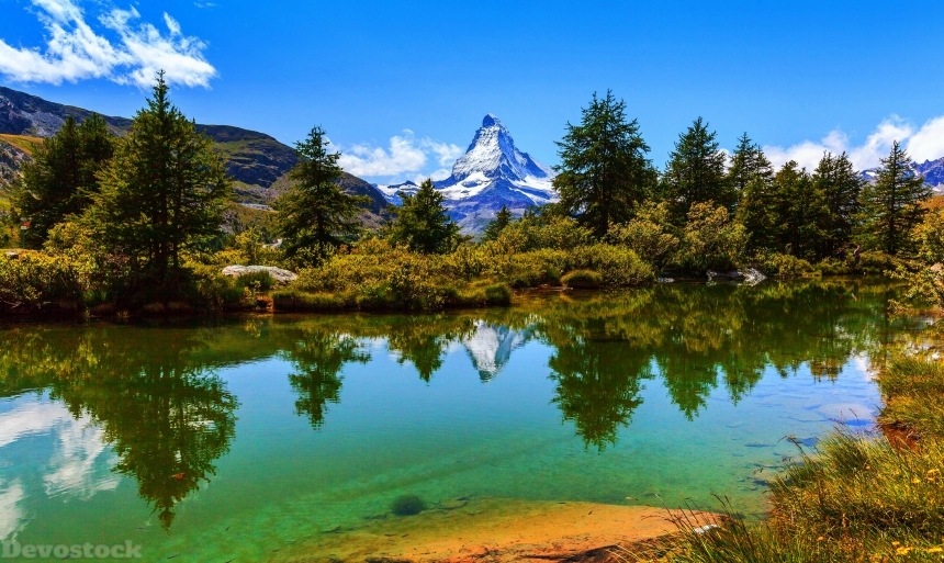 Devostock Switzerland Lake Mountains Zermatt Alps Spruce Shrubs Nature 4k