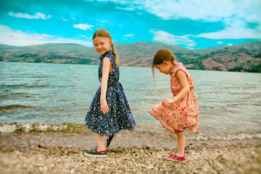 Devostock Two Sisters Walking Lake Shore Water Sky Nature 4k