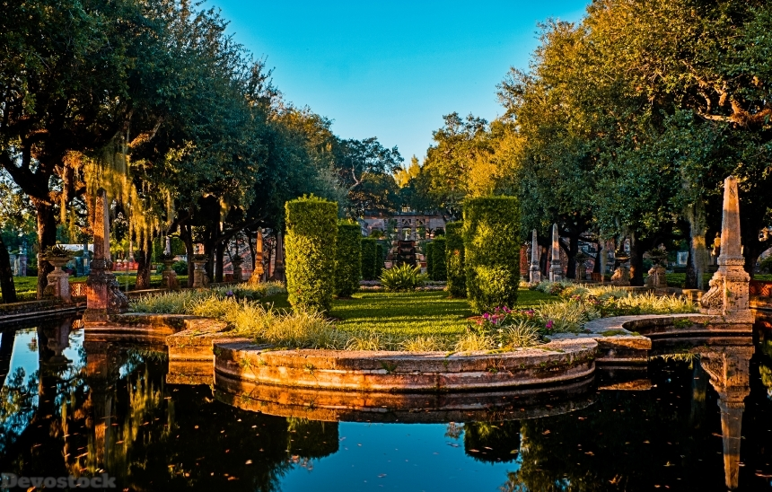 Devostock USA Gardens Pond Vizcaya Museum And Gardens Miami 4K