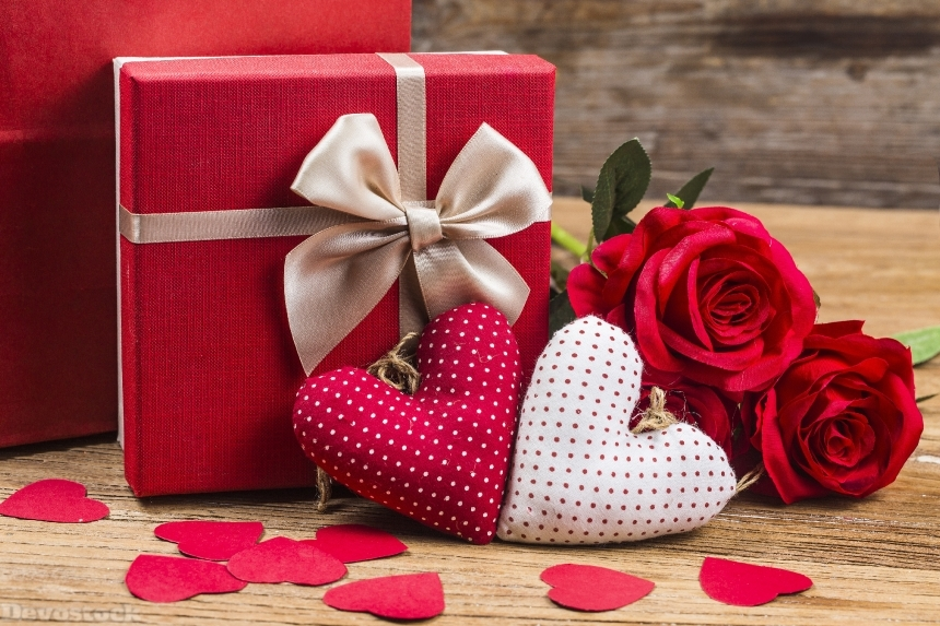Devostock Valentine Day Heart Gifts Bowknot 4K