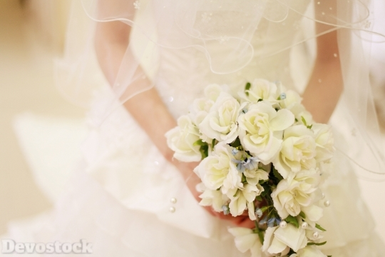 Devostock Wedding Dress Bride Bakah White No Face 4k