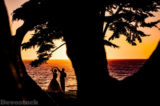 Devostock Weeding Couple Beach Silhouette Dw 4K