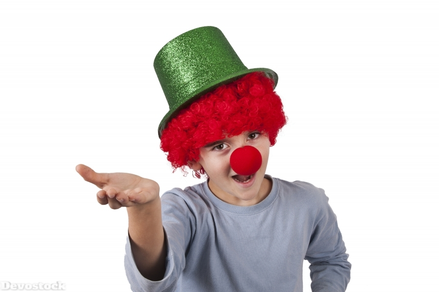 Devostock White background Boy Clown Uniform Hat Hands 4k