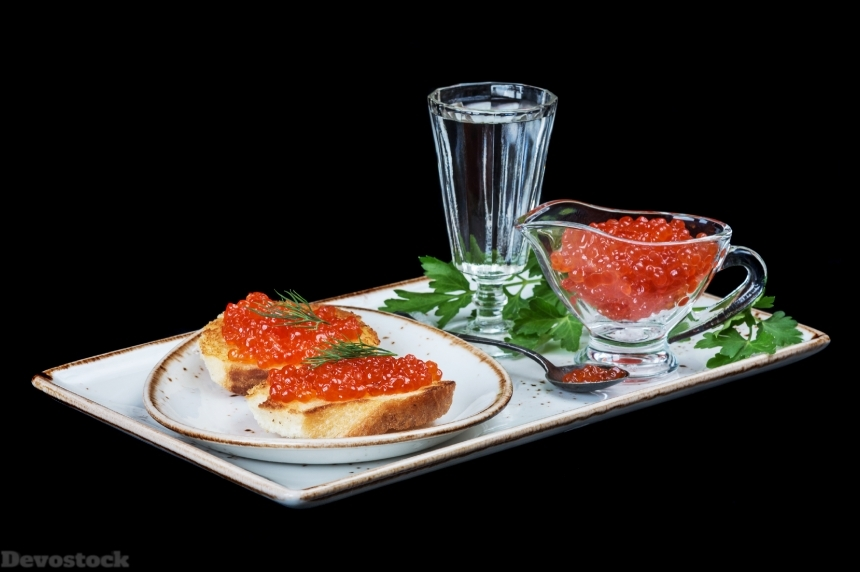 Devostock Red caviar and of vodka