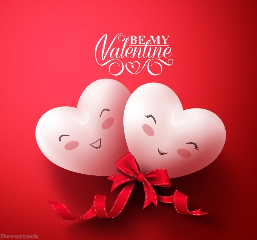 Devostock Sweet Smiling Hearts of Happy Lovers for Happy Valentines Day Gr