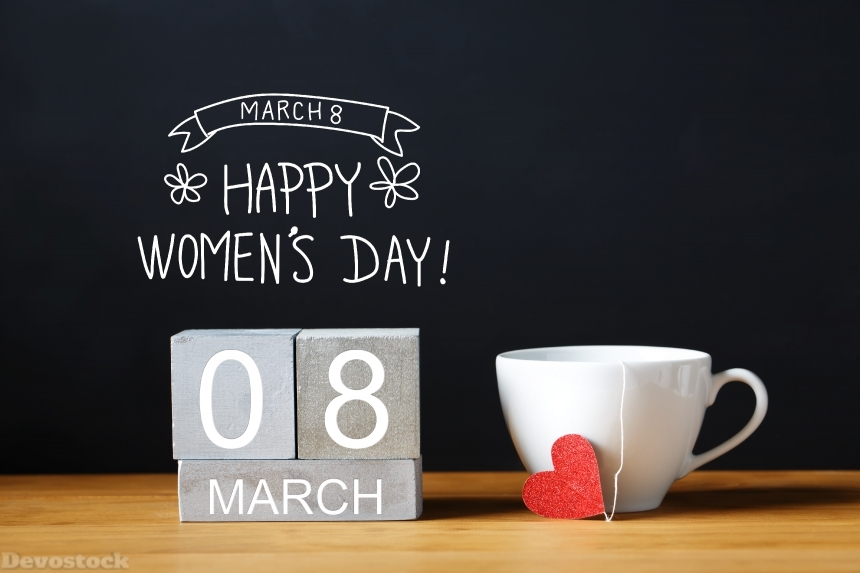 Devostock Women's Day message with coffee cup