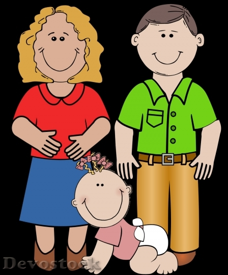 Devostock Cartoon family with little girl