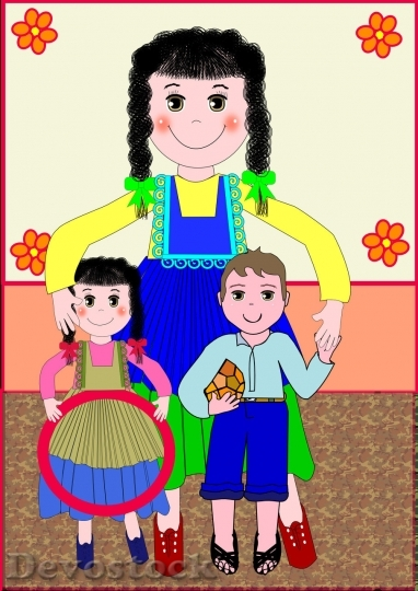 Devostock Cartoon Mother or teacher taking care of children