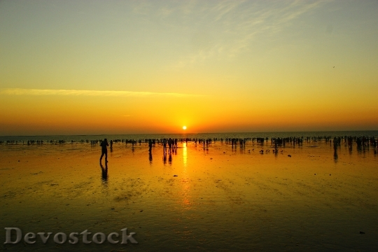 Devostock Seashore Sunset Evening Beach