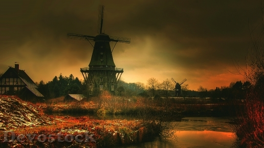 Devostock Dutch windmill in sunset