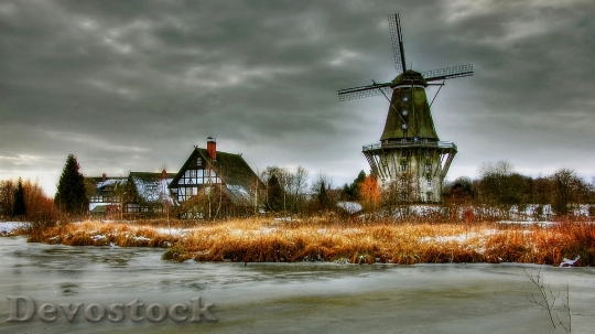 Devostock Dutch windmill in winter