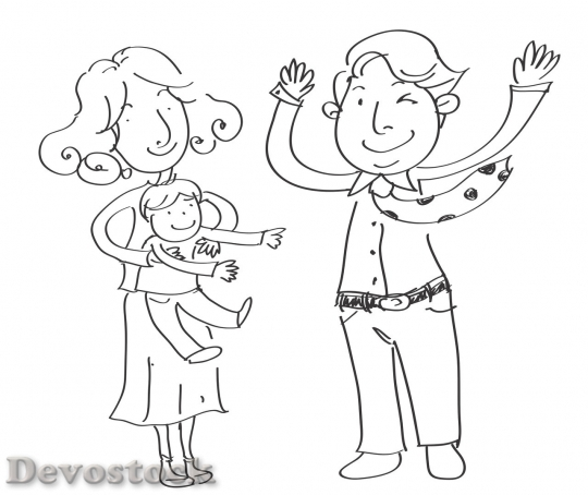 Devostock Family cartoon drawing