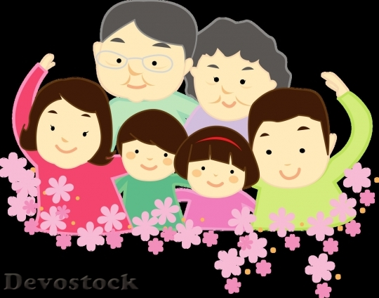 Devostock Family cartoon happy