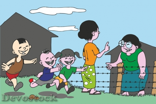 Devostock Family cartoon happy children playing