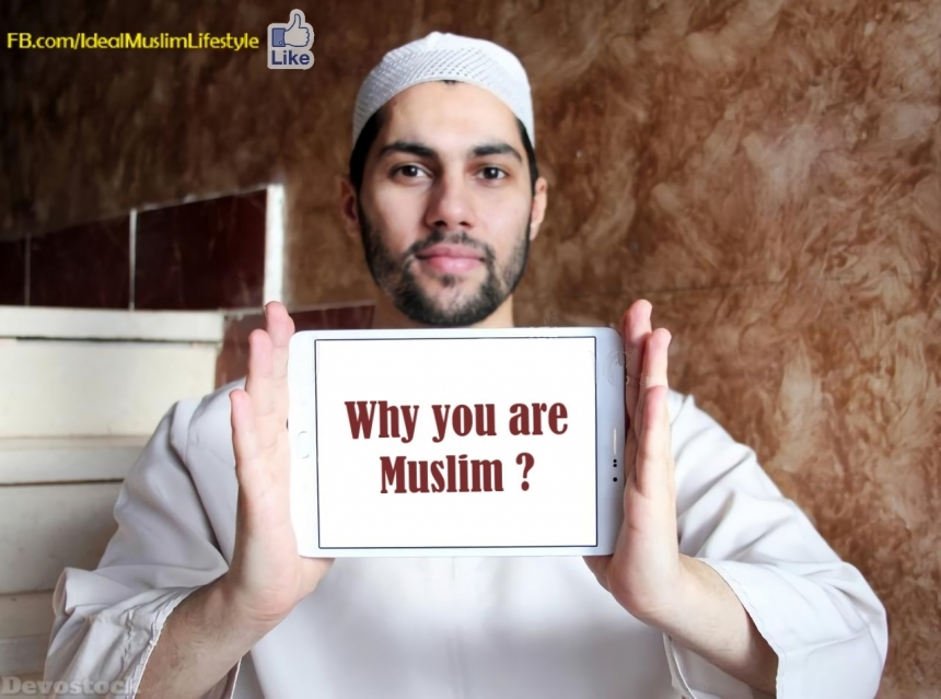 Devostock Muslim man asking a question