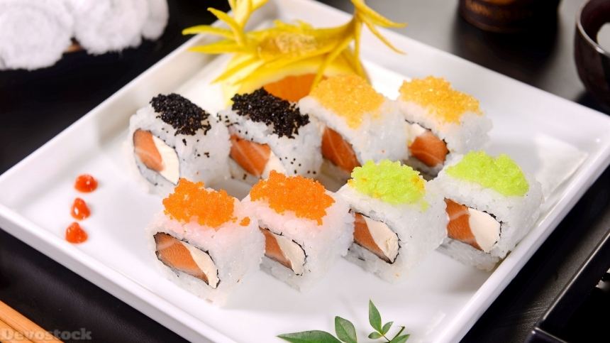 Devostock Salmon and cream cheese sushi
