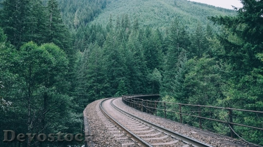 Devostock Train track scenery stock images  (3)