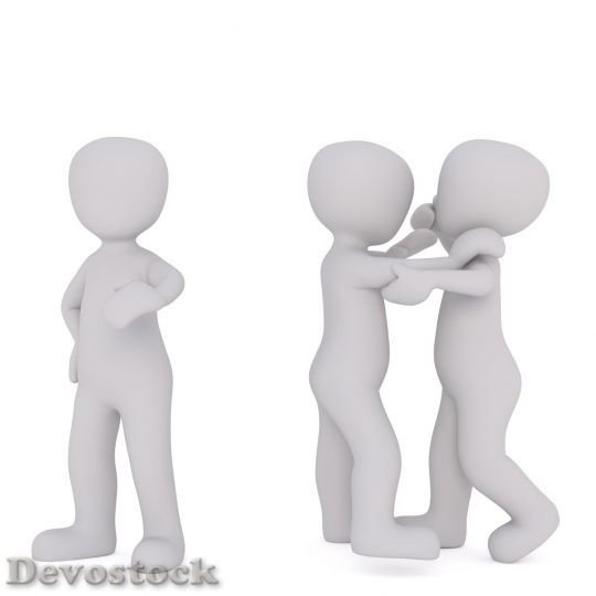 Devostock Two Faceless Cartoon Men Fighting While Third Are Standing Aside