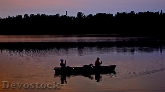 Devostock Canoe Lake Twilight Water