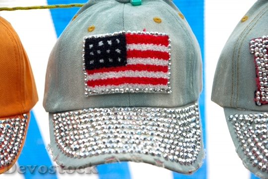 Devostock Caps Usa Flag Diamonds