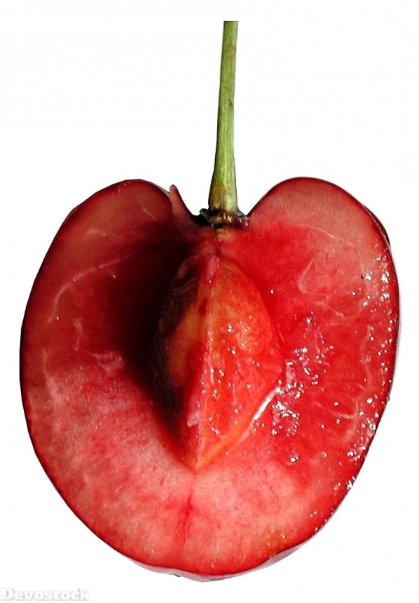 Devostock Cherry Sliced White Background