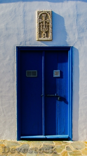 Devostock Door Wooden Blue Entrance
