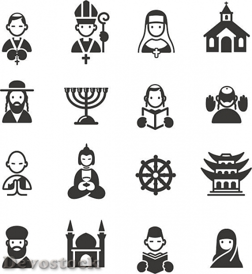 Devostock multiple-religion-and-place-of-worship-icons-vecto$1