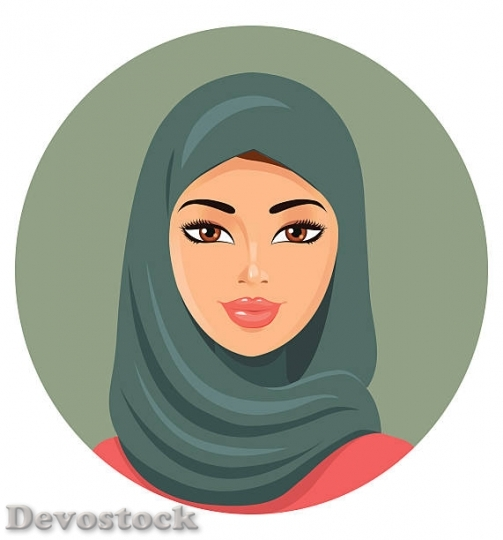 Devostock vector-hijab-style-beautiful-arabic-muslim-woman-v$1