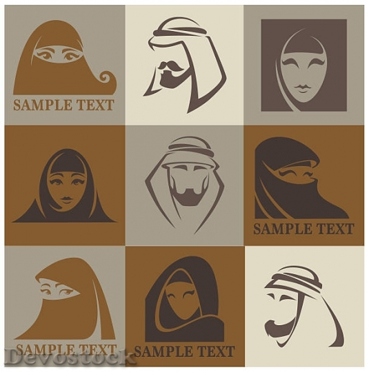 Devostock vector-muslim-faces-vector-emblems-collection-vect$1